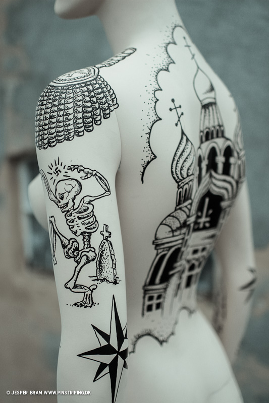 Prison tattoos on mannequin pinstriping by mr for Russian style tattoo
